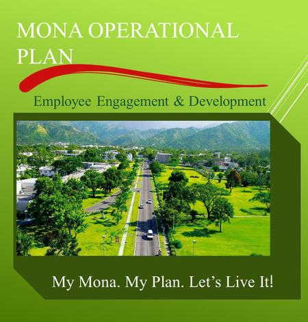 MONA OPERATIONAL PLAN My Mona. My Plan. Let's Live It ! Employee Engagement & Development.