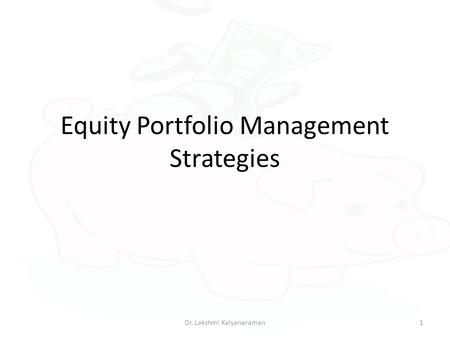 Equity Portfolio Management Strategies