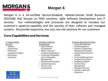 Morgan 6 is a VA-certified Service-Disabled, Veteran-Owned Small Business (SDVOSB) that focuses on PMO solutions, Agile Software Development and IT services.