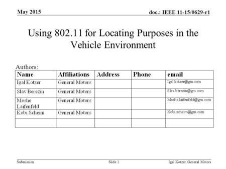Submission doc.: IEEE 11-15/0629-r1 Using 802.11 for Locating Purposes in the Vehicle Environment May 2015 Igal Kotzer, General MotorsSlide 1 Authors: