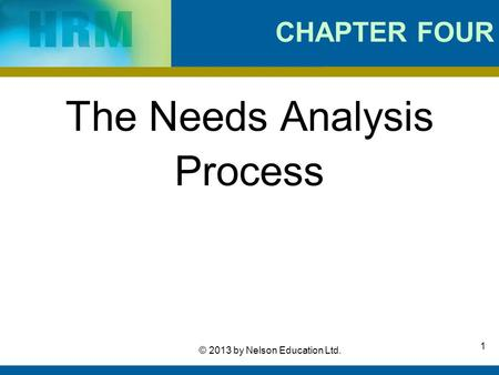 1 © 2013 by Nelson Education Ltd. CHAPTER FOUR The Needs Analysis Process.