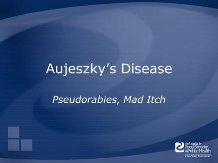 Aujeszky's Disease Pseudorabies, Mad Itch. Overview Organism Economic Impact Epidemiology Transmission Clinical Signs Diagnosis and Treatment Prevention.
