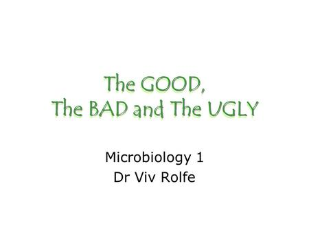 The GOOD, The BAD and The UGLY Microbiology 1 Dr Viv Rolfe.