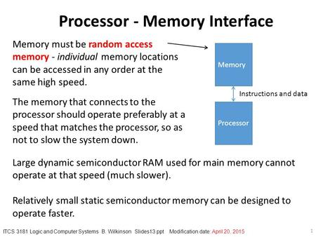 1 The memory that connects to the processor should operate preferably at a speed that matches the processor, so as not to slow the system down. Processor.