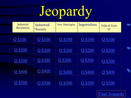Jeopardy Industrial Revolution Industrial Society New Ideologies Imperialism Odds & Ends x2 Q $100 Q $200 Q $300 Q $400 Q $500 Q $100 Q $200 Q $300 Q.