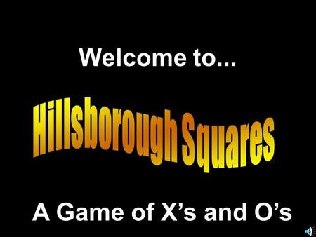 Welcome to... A Game of X's and O's. 789 456 123.