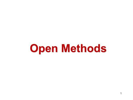 Open Methods.