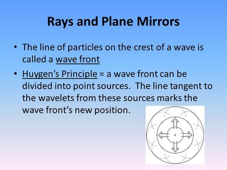 Rays and Plane Mirrors The line of particles on the crest of a wave is called a wave front Huygen's Principle = a wave front can be divided into point.