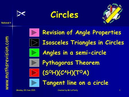 Monday, 08 June 2015Monday, 08 June 2015Monday, 08 June 2015Monday, 08 June 2015Created by Mr Lafferty1 Circles Revision of Angle Properties Angles in.