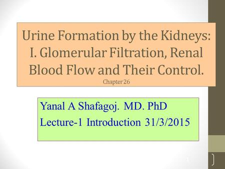 Urine Formation by the Kidneys: I. Glomerular Filtration, Renal Blood Flow and Their Control. Chapter 26 Yanal A Shafagoj. MD. PhD Lecture-1 Introduction.