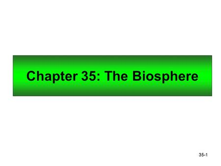 35-1 Chapter 35: The Biosphere. 35-2 Climate and the Biosphere Climate refers to the prevailing weather conditions in an area as dictated by temperature,