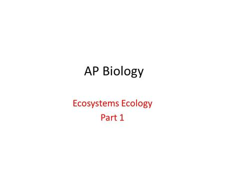 AP Biology Ecosystems Ecology Part 1. Most of this information is important review material. I. Ecosystems – Refers to all the interacting communities.