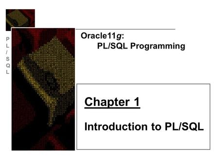 Oracle11g: PL/SQL Programming Chapter 1 Introduction to PL/SQL.