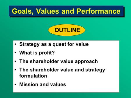 Goals, Values and Performance Strategy as a quest for value What is profit? The shareholder value approach The shareholder value and strategy formulation.