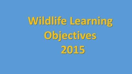 Wildlife Learning Objectives 2015 2015. Birds, Mammals, Amphibians and Reptiles Species Identification: Identify wildlife species common to NS and the.