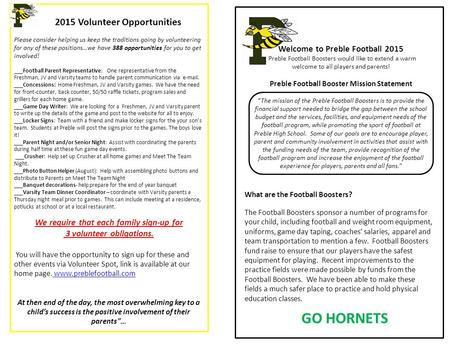 Welcome to Preble Football 2015 Preble Football Boosters would like to extend a warm welcome to all players and parents! Preble Football Booster Mission.