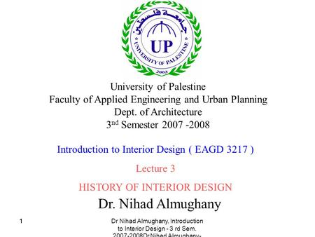 Dr. Nihad Almughany University of Palestine