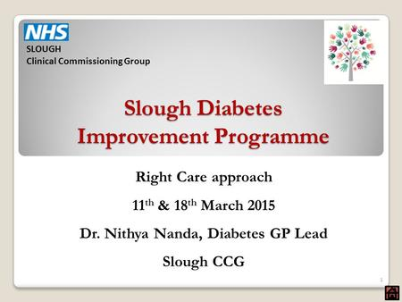 Slough Diabetes Improvement Programme Right Care approach 11 th & 18 th March 2015 Dr. Nithya Nanda, Diabetes GP Lead Slough CCG 1 SLOUGH Clinical Commissioning.