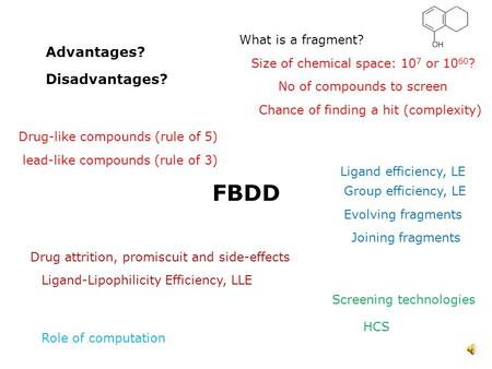 What is a fragment? FBDD Size of chemical space: 10 7 or 10 60 ? Ligand efficiency, LE HCS Disadvantages? Advantages? Drug-like compounds (rule of 5)
