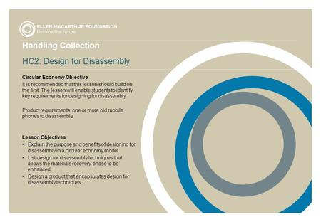 Handling Collection HC2: Design for Disassembly Circular Economy Objective It is recommended that this lesson should build on the first. The lesson will.