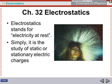 "Ch. 32 Electrostatics Electrostatics stands for ""electricity at rest""."