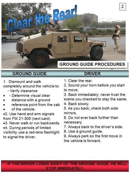 Clear the Rear! 2 GROUND GUIDE PROCEDURES GROUND GUIDE DRIVER