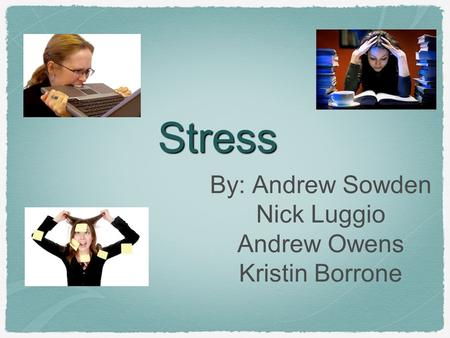 <strong>Stress</strong> By: Andrew Sowden Nick Luggio Andrew Owens Kristin Borrone.