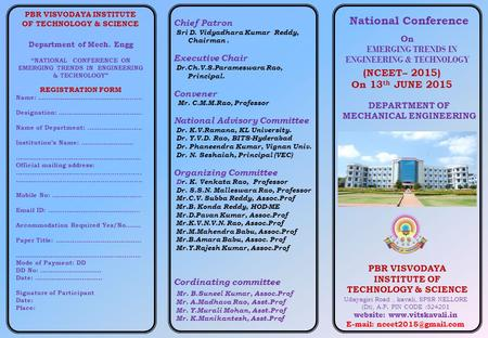 "National Conference (NCEET– 2015) On 13 th JUNE 2015 Department of Mech. Engg ""NATIONAL CONFERENCE ON EMERGING TRENDS IN ENGINEERING & TECHNOLOGY"" REGISTRATION."