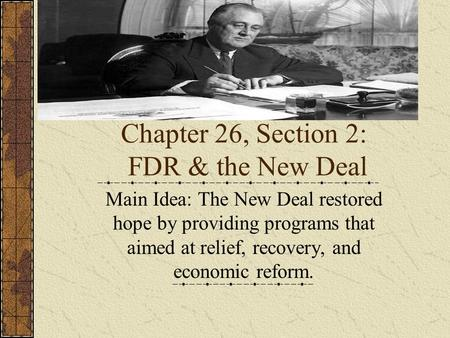 the objectives of franklin roosevelts new deal program after the great depression A new deal recovery and relief program provided more than a the new deal's civilian conservation seven days after franklin roosevelt's.