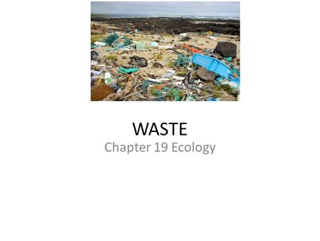WASTE Chapter 19 Ecology. Who is to Blame? But our waste problem is not the fault only of producers. It is the fault of an econom that is wasteful from.