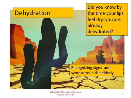 RM VANDEE RN, MSN 2015 Procare Hospice of Nevada 1 Did you know by the time your lips feel dry, you are already dehydrated? Dehydration Recognizing signs.