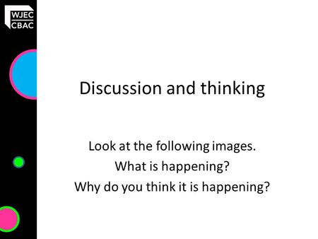 Discussion and thinking Look at the following images. What is happening? Why do you think it is happening?