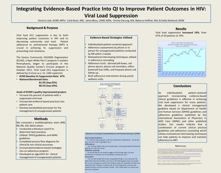 Integrating Evidence-Based Practice Into QI to Improve Patient Outcomes in HIV: Viral Load Suppression Victoria Lieb, ACRN, MPH; Carla Rossi, MD; Jaime.