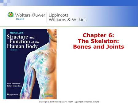Copyright © 2013 Wolters Kluwer Health | Lippincott Williams & Wilkins Chapter 6: The Skeleton: Bones and Joints.