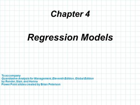 Regression Models Chapter 4