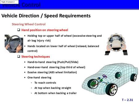 Vehicle Control Vehicle Direction / Speed Requirements Steering Wheel Control  Hand position on steering wheel Holding top or upper half of wheel (excessive.