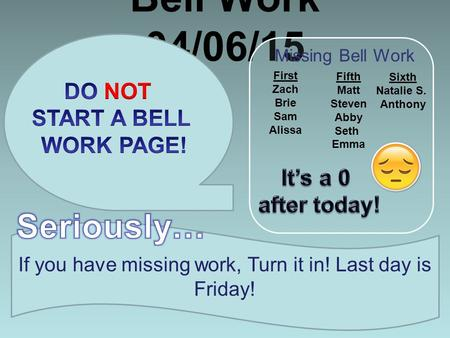 Bell Work 04/06/15 If you have missing work, Turn it in! Last day is Friday! Missing Bell Work First Zach Brie Sam Alissa Fifth Matt Steven Abby Seth Emma.