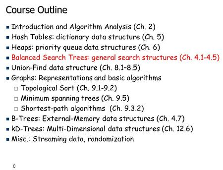 0 Course Outline n Introduction and Algorithm Analysis (Ch. 2) n Hash Tables: dictionary data structure (Ch. 5) n Heaps: priority queue data structures.