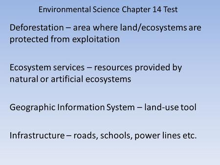 Environmental Science Chapter 14 Test