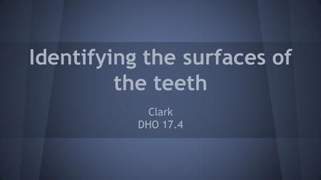 Identifying the surfaces of the teeth Clark DHO 17.4.