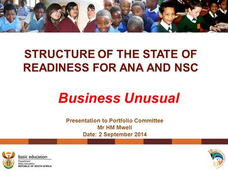 STRUCTURE OF THE STATE OF READINESS FOR ANA AND NSC