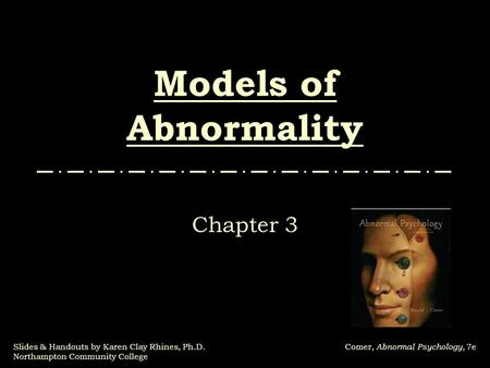 Models of Abnormality Chapter 3.