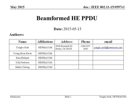 Beamformed HE PPDU Date: Authors: May 2015 Month Year