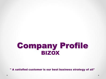 Company Profile BIZOX  A satisfied customer is our best business strategy of all