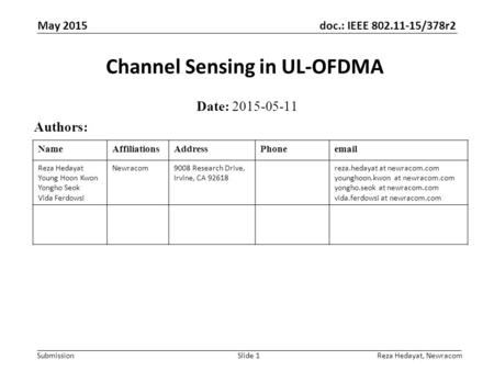 Channel Sensing in UL-OFDMA