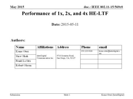 Doc.: IEEE 802.11-15/569r0 Submission Performance of 1x, 2x, and 4x HE-LTF May 2015 Slide 1 Date: 2015-05-11 Authors: Kome Oteri (InterDigital)