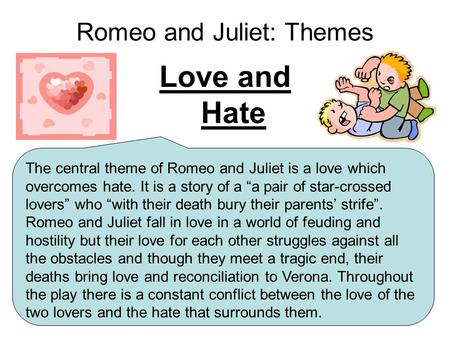 essay on love and hate romeo and juliet Summary: discusses if romeo and juliet by william shakespeare is a play that tells more about love than hate romeo and juliet, i think, is a play that tells us equally about both love and hate many people, when they hear romeo and juliet, immediately assume that it is the greatest love.