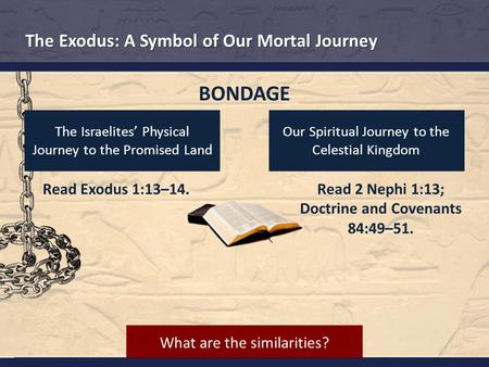 Read Exodus 1:13–14. Read 2 Nephi 1:13; Doctrine and Covenants 84:49–51. The Israelites' Physical Journey to the Promised Land Our Spiritual Journey to.