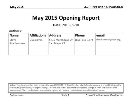 Submission doc.: IEEE 802.19-15/0040r0 May 2015 Steve Shellhammer, QualcommSlide 1 May 2015 Opening Report Date: 2015-05-10 Authors: Notice: This document.