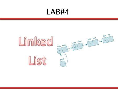 LAB#4. Linked List : A linked list is a series of connected nodes. Each node contains at least: – A piece of data (any type) – Pointer to the next node.